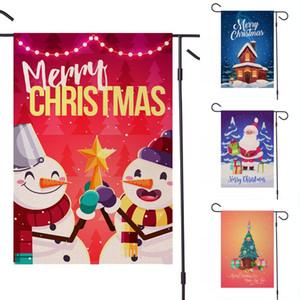 DHL Kargo Noeller Garden Çift Ev Dekoratif Noel Evi Yard Flags Santa Kardan Adam Dekoru Yılbaşı Açık Bayrağı AHE1576 Taraflı