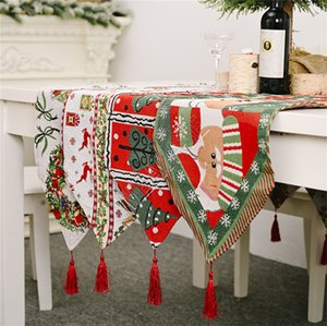 180 * 35cm de Navidad Camino de mesa Mantel borlas Bandera tabla creativa de Navidad del partido Elk árbol de Navidad Decoración de la mesa de escritorio Suministros GWC2193