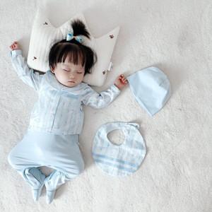 신생아 유아 아기 소녀 Romper 옷 코튼 귀여운 만화 인쇄 긴 소매 jumpsuit + 모자 + 턱받이 3 개 유아 아기 옷 복장