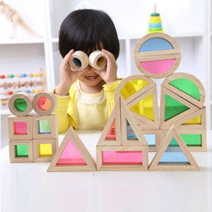Wooden Blocks Rainbow Blocks Rainbow Construction Building Toy Image Training Educational Toys Colorful Cognitive Toys Kid Gifts T200722