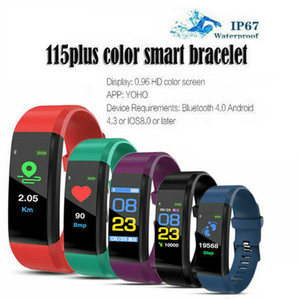 Pulseras ID115 Plus Color Smart Pulsera Sport Sports Watch Fitness Running Tracker Rate Toate Pedómetro