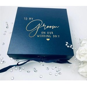 Luxury wedding Party gift box for grooman custom gold thank you gfit boxes birthday Favour Box best man groom to be gift