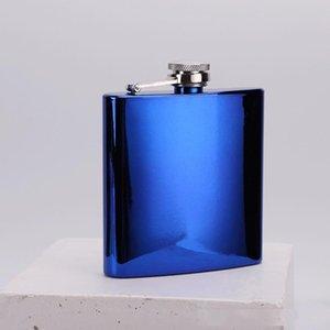 Gökkuşağı Renkli Kaplama Paslanmaz Çelik 6 oz Hip Flask Mans Açık Şarap Pot Yaratıcı elektrolizle Whisky Hip Flask 4 Renkler