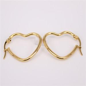 6pcs Simple Gold Color Stainless steel Earrings Heart-shaped wire plated earrings Love Heart Hoop Earrings For Women Gift