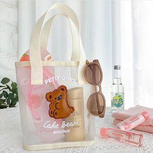 Bentoy Milkjoy Corée Mode Ours Fleur Sac à main filles Summer Beach Beach Voyage Sac Femmes Daily Sacs Sacs Gaze devraient-ils