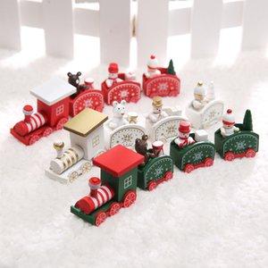 Toit plat Bois Train de Noël Dôme style Maison Décoration bébé Enfants Noël Rouge Vert Blanc Train en bois GWF1930