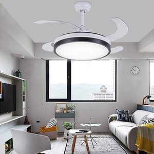 Luxury invisible ceiling fan Modern Fans with lights Acrylic Leaf Led Ceiling Fans 110V 220V with remote control fan