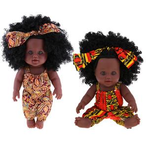 2 Pièces 12inch Reborn afro-américaine de bébé nouveau-né vinyle Doll