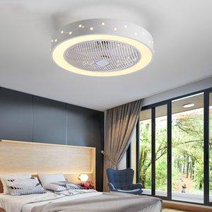 IKVVT Ventilador de teto moderno com luz Dimmable Fan White Light para Quarto Sala Ventiladores de teto Controle Remoto AC220V