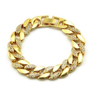 Gold Miami Cuban Link Chain Bracelets Mens Hip Hop Bracelet Jewelry Fashion Iced Out Chains Bracelets