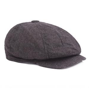 iNOxf mittleren Alters und ältere Wolle Herbst und Winter warm Männer spitzen Warm oktogonalen Hut Spitz oktogonalen cap cap Barett