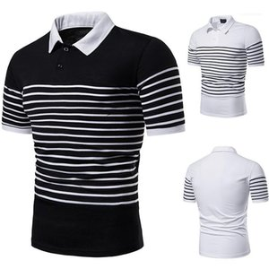 Neck Casual Short Sleeves Polos Mens Clothes Striped Print Designer Polo Shirts Mens Fashion Patchwork Pure Color Polos Lapel