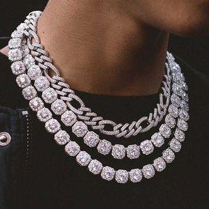 Hohe Qualität Eyer aus Bling 5A Kubikzirconia CZ Schmuck Clear CZ Gepflastert Hiphop Bling Cluster Tennis Halskette für Männer Junge