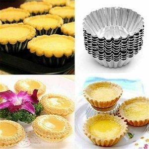 Cupcake Kupa Ve Tavalar Yumurta Tart Alüminyum Yeniden kullanılabilir Pişirme Kalıp Şekli Tartlets Alloy 10pcs Ripple 7cm Yapışmaz Muffin Çiçek gnfGc wrhome