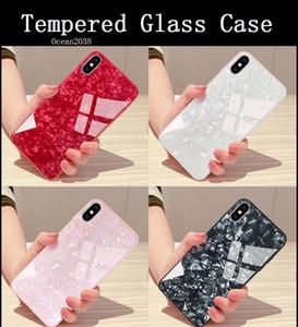 Marble Conch Muster gehärtetes Glas-Kasten für iPhone XS MAX Stoß- harte rückseitige Abdeckung 6/7/8 plus