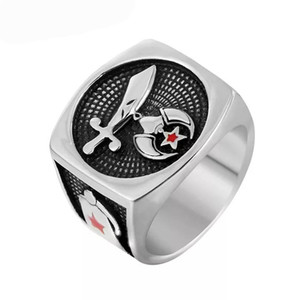 Dropshipping 316l stainless steel masonic freemason signet shriner rings for men women antique band rings men