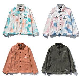 CALIENTE STUSSY Diseñador capa de la chaqueta para hombre del dril de algodón de los hombres de moda Denim sólido masculino Jean chaquetas de los hombres del vaquero Outwear el suéter Ropa de Hip Hop de Calle