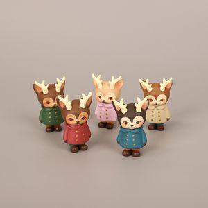 1pc Cute Deer Doll Animal Figurine Model Home Decor Miniature Toy Craft Ornament Garden Fairy Decoration Glass DIY Accessories