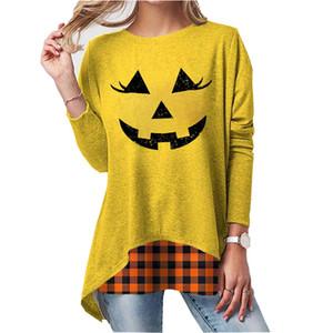 Femmes Designer Halloween Pumpkin T-shirt manches longues col O dames T-shirts Mode Printemps Automne Patchwork Femme Vêtements
