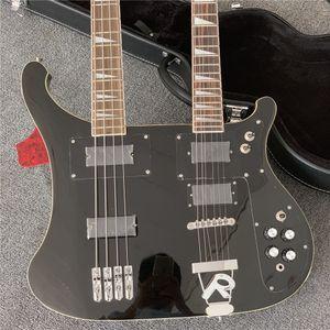 Factory Custom Double Hear Electric Bass и гитара с 4 + 6 струнами, черным пикавтором, высоким качеством, 3 цвета, могут быть настроены гитары Guitarr