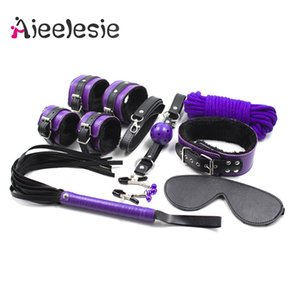 8 piece set leather BDSM Bondage slave Handcuffs Whip Spanking Paddle Mouth Gag Rope Couple flirting foreplay Adult sex toys T200908
