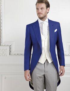 Mañana estilo hombres se adaptan a un botón para el novio TUXEDOS Peak Sapa Plazo Groomsmen Best Man Hombre 3 piezas (chaqueta + pantalones + chaleco + corbata) L593
