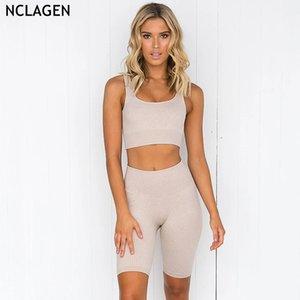 NCLAGEN femmes Yoga COURIR sans couture haute élastique Sports Fitness Shorts Femme Gym Workout Courir Costume de Y200904 de Halter Soutien-gorge