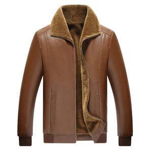 AKSR 2020 Giacca in pelle più velluto caldo PU Faux Leather Warm collo di pelliccia di inverno del Mens Abbigliamento casual cappotto di lana Liner nuovi uomini