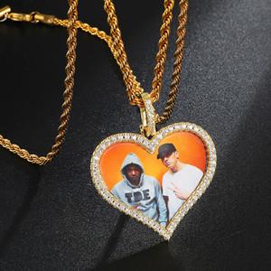 Custom Made Fotoğraf Kalp Madalyon kolye kolye ile 4mm Tenis Zinciri Kübik Zirkon Erkek Hip hop Takı