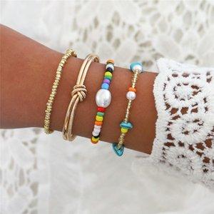 4 шт / комплект Прекрасные красочные бусы камень Имитация Pearl браслет Мода женщин браслет шарма Ювелирные подарки