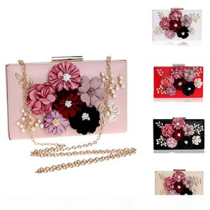 Fashion New Women Flowers Bag Female PU Chain Shoulder Handbags Mixed Color Metal Leather Evening Day Clutch Mini Purse Bags