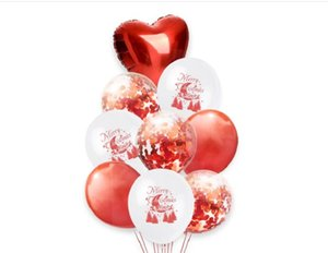 2021 Christmas Decorations 12 inch red and green paper sequins balloon combination Merry Christmas white house christmas decorations Santa's