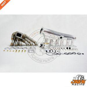 JKVK RACING Billet Intake Manifold Kits + Turbo Set Com 90MM Throttle Body Para Supra 2JZ GTE