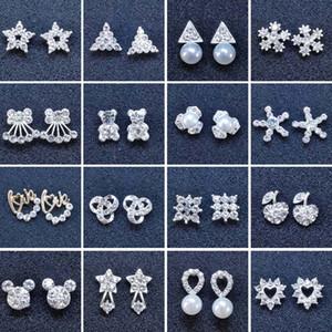 Trendy New 48 styles creative ear studs fashion snowflake beer crystal rhinestone pearl ear studs new pearl earrings wholesale jewelry