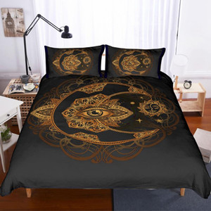 Golden Lotus Eyes Bedding Set Bedroom Decor Black Background Microfiber Soft 1PC Duvet Cover with Pillowcases No Comforter