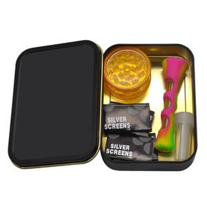 Honeypuff combouff + 미니 플라스틱 그라인더 + 금속 Filte 화면 + 필터 팁 패턴 스티커 + 미니 플라스틱 그라인더 + 실리콘 파이프