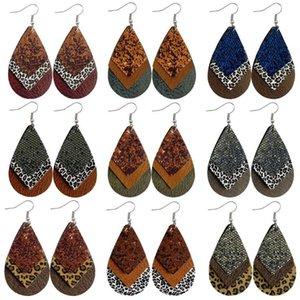 Cheetah Animal Print Triplet Layering Leather Earrings for Women Glitter Leopard Layered Teardrop Statement Earrings Snakeskin Jewelry