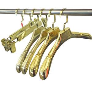 High Grade bonito dourado brilhante ombro largo luxo ouro roupas de plástico Cabide Rack para Casacos Calças Vestido de Noiva SN1880