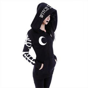 Women Hoodies Gothic Punk Moon Letter Print Sweatshirts Autumn Winter Long Sleeve Black Jacket Zipper Coat Casual Hoody 2XL