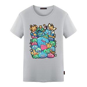 Флеванс Нового Doragon Kuesuto Dragon Quest Mens Летней футболка Слизь Смешная Deisgn Печать Вязанные Люди Мода Топы Тис