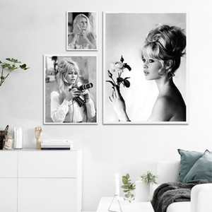 Black and White Model Brigitte Bardot French Fashion Poster Canvas Art Prints Photo Vintage Picture Art Painting Wall Decor