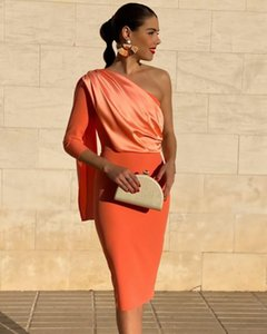 New Long Sleeve Cocktail Party Dresses With Cape One Shoulder Women Sexy Orange Prom Dresses Short Homecoming Graduation Gowns