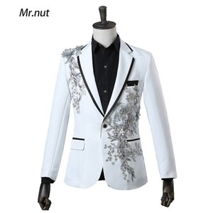 Men Slim Fit Suit 3D Embroidery Flowers Crystal Stage Singer Nightclub Suit Jacket Tide Bar Mens Wedding Blazer 4 Colors