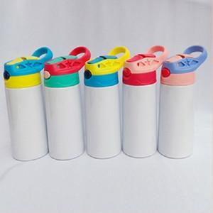 12 once sublimazione Sippy Cup 350ml sublimazione Bottiglia d'acqua Bambini con coperchio paglia portatile Alcol acciaio inossidabile bicchiere DHB1799