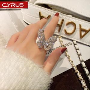 Trendy Schmetterling geöffnete Ringe Intarsien Zirkon Luxus Ring auf der Hand Frauen Schmuck Accessoires für Mädchen Hochzeit Partei-Geschenk 2020