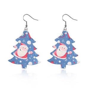 Orecchini di cuoio DHL Faux di Natale per le donne Teardrop ciondola l'albero di Natale Glitter orecchini di cuoio per il Natale del partito HHF1728