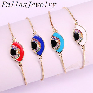 10Pcs Fashion Micro Pave CZ Zircon Colorful Enamel Eye charm connector bracelet