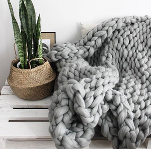 JH 2cm Nordic Thick Thread Blanket Hand Woven Sofa Icelandic Blanket Wool Pure Color Photography Props Blanket