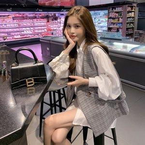 2020 Herbstkleidung koreanische Weste Hemd gebratene Straße Hepburn Western-Stil der Frauen Licht reifer Arthemdes Anzug Weste zweiteiliger Anzug pkMPZ pk