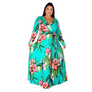 Floral Designer stampa vestiti delle donne casuale più dimensioni vestiti delle donne rovesciate Vneck fasciatura del manicotto lungo allentati Abiti
